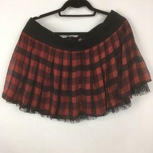 Royal bones plaid chiffon lace plaid mini skirt